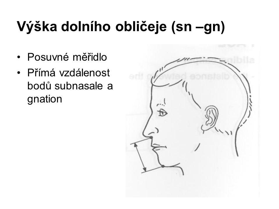 Výška dolního obličeje (sn –gn) Posuvné měřidlo Přímá vzdálenost bodů subnasale a gnation