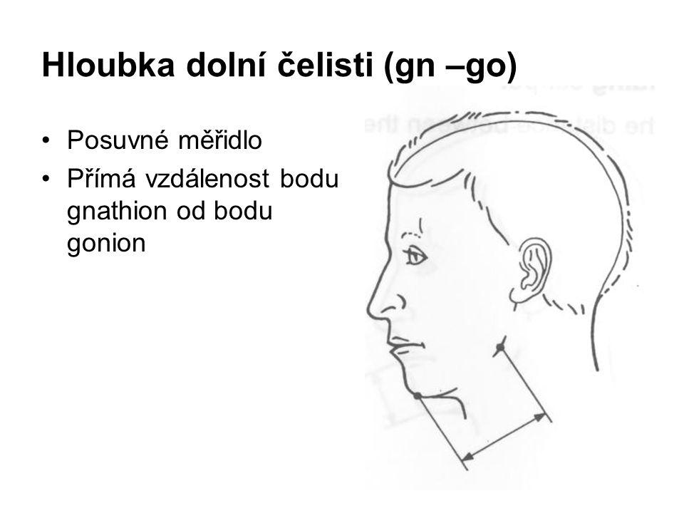 Hloubka dolní čelisti (gn –go) Posuvné měřidlo Přímá vzdálenost bodu gnathion od bodu gonion