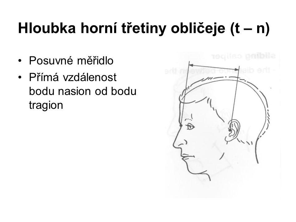 Hloubka horní třetiny obličeje (t – n) Posuvné měřidlo Přímá vzdálenost bodu nasion od bodu tragion