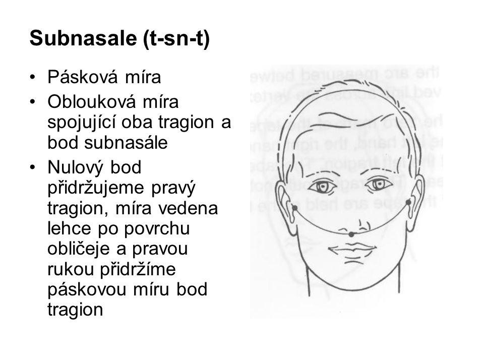 Morfologická výška obličeje (n – gn) Posuvné měřidlo Přímá vzdálenost mezi body nasion a gnathion
