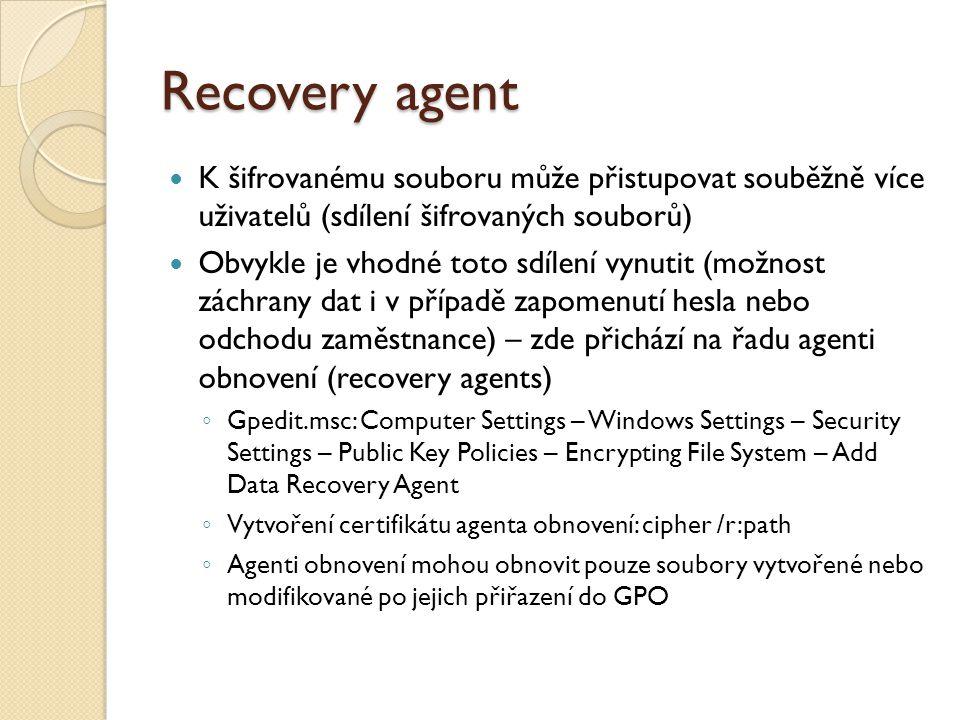 Sdílení a agenti obnovení DDF = Data Decryption Field DRF = Data Recovery Field FEK = File Encryption Key