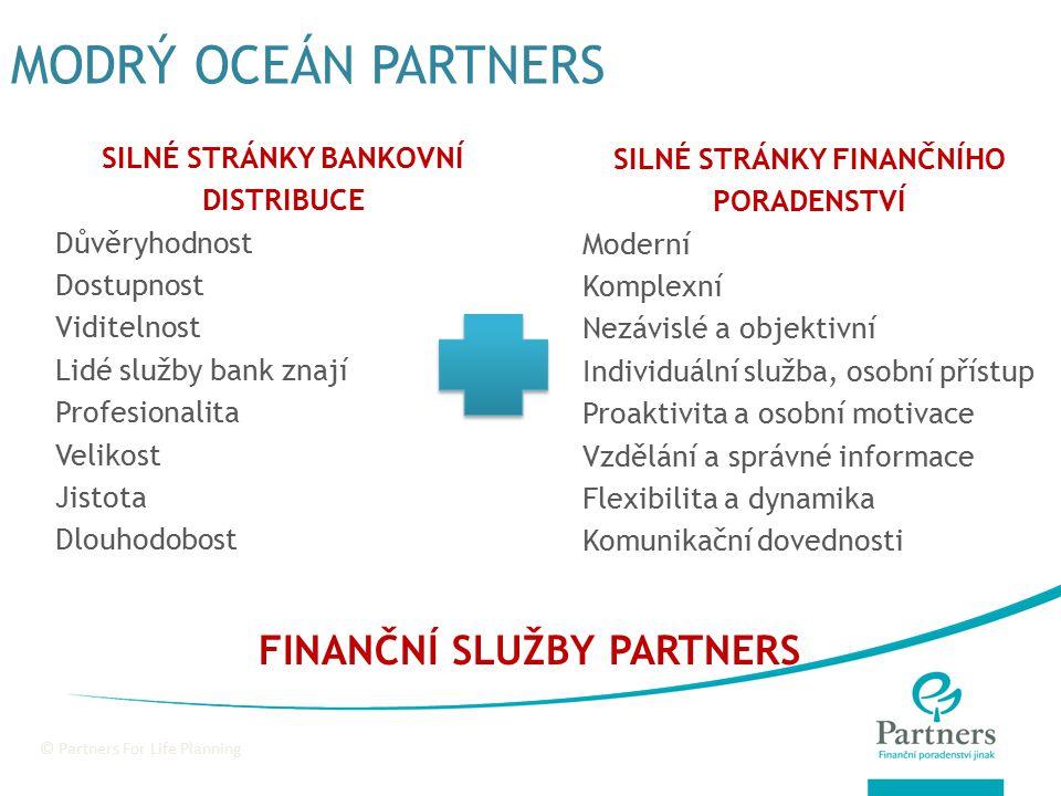 © Partners Financial Services MODEL DISTRIBUCE PARTNERS PRIVATE AFLUENT UPPER MASS MASS LOWER MASS PRIVÁTNÍ BANKÉŘI PODNIKATELÉ, OSOBNOSTI V REGIONU PROFESIONÁLOVÉ V OBORU ZKUŠENÍ POJIŠŤOVÁCI NOVÁČCI V OBORU, ZAMĚSTN., STUDENTI VIP PORADENSKÉ KANCELÁŘE PORADENSKÁ SÍŤ (STRUKTURY, KP) FRANŠÍZA PARTNERS MARKET POTENCIONÁLNÍ KLIENTELA PARTNEŘI DO BYZNYSU DISTRIBUČNÍ KANÁLY SERVISNÍ KANÁLY: WEBOVÝ PORTÁL, SERVISNÍ KAMPANĚ, CALL CENTRUM, SERVISNÍ PORADCI SERVISNÍ KANÁLY: WEBOVÝ PORTÁL, SERVISNÍ KAMPANĚ, CALL CENTRUM, SERVISNÍ PORADCI