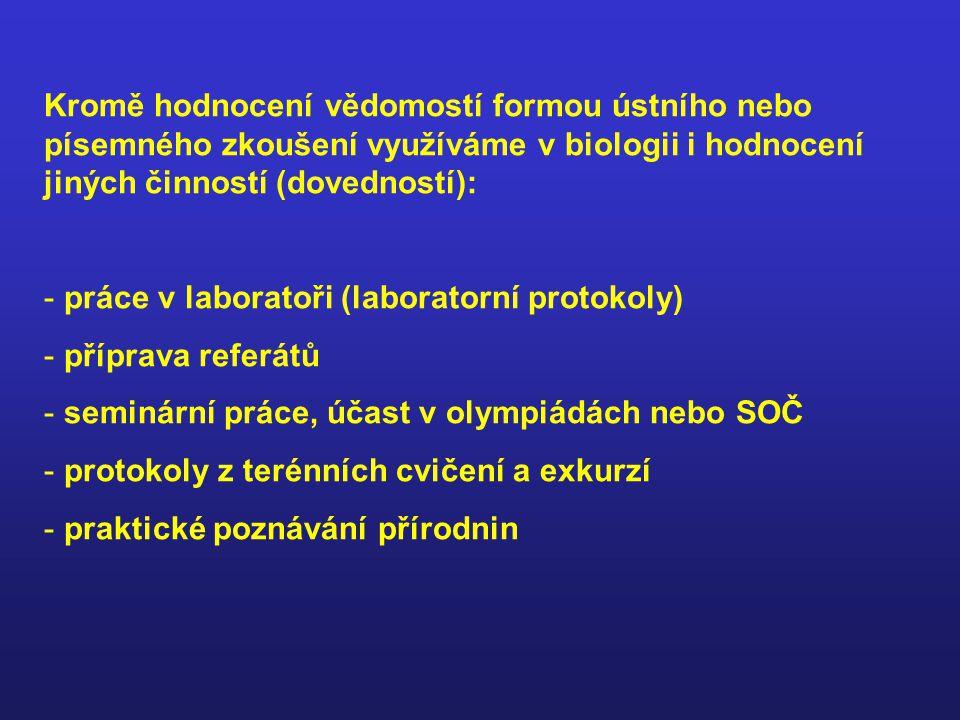 Kromě hodnocení vědomostí formou ústního nebo písemného zkoušení využíváme v biologii i hodnocení jiných činností (dovedností): - práce v laboratoři (laboratorní protokoly) - příprava referátů - seminární práce, účast v olympiádách nebo SOČ - protokoly z terénních cvičení a exkurzí - praktické poznávání přírodnin