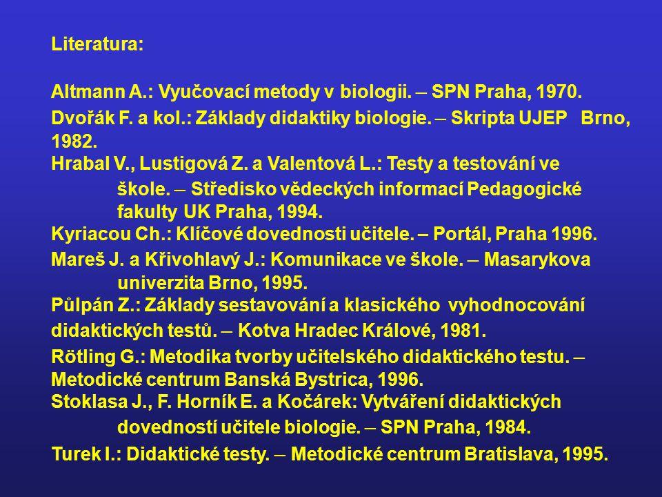 Literatura: Altmann A.: Vyučovací metody v biologii.