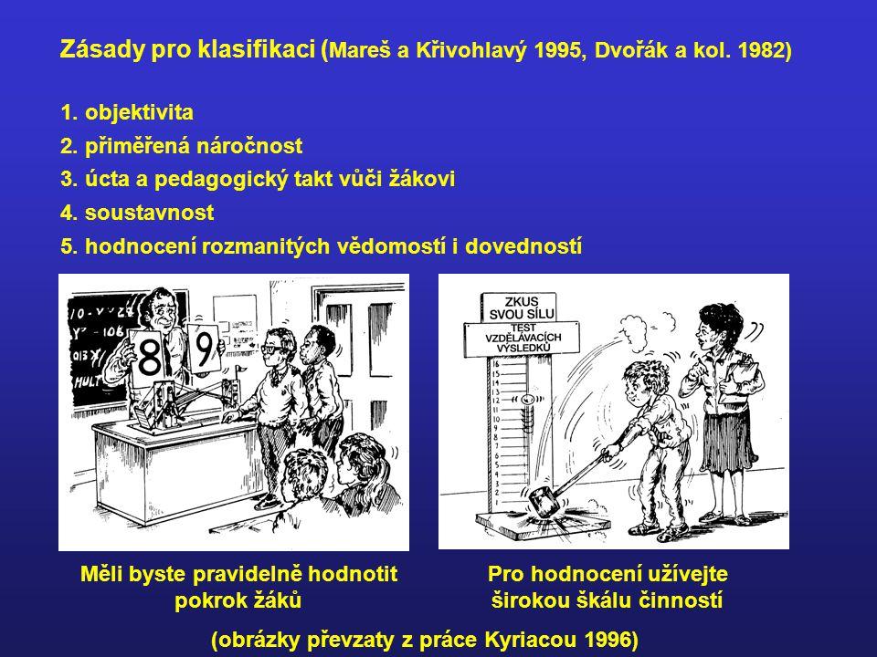 Zásady pro klasifikaci ( Mareš a Křivohlavý 1995, Dvořák a kol.