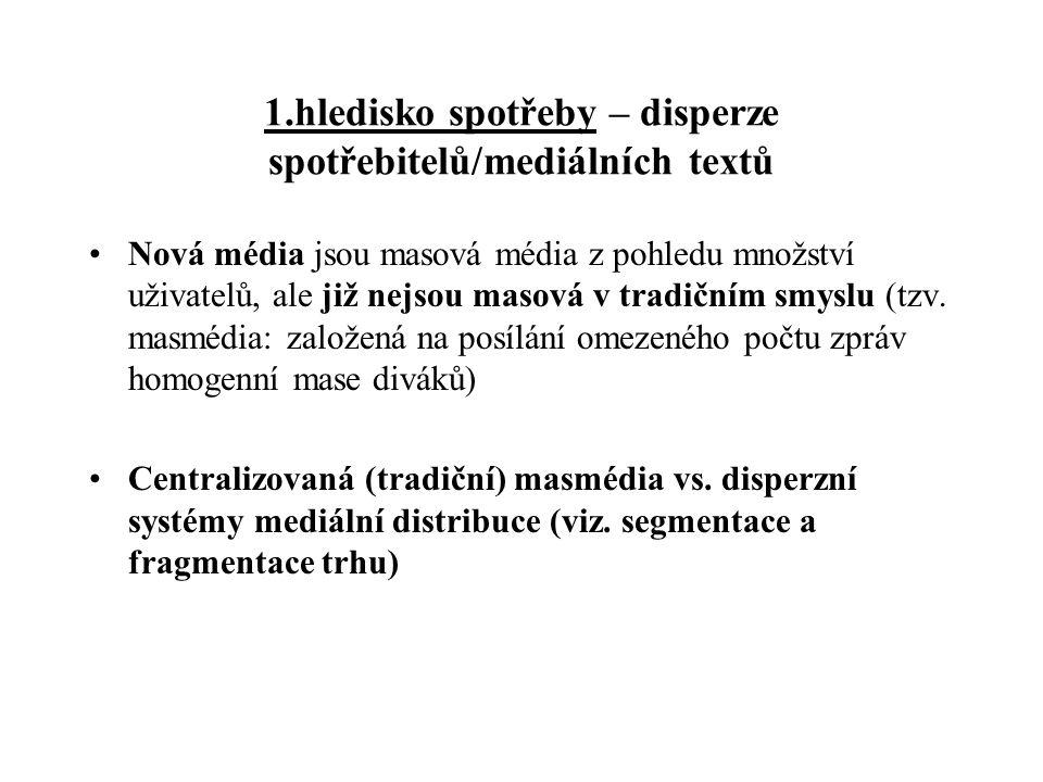 1.hledisko spotřeby – disperze spotřebitelů/mediálních textů Nová média jsou masová média z pohledu množství uživatelů, ale již nejsou masová v tradič
