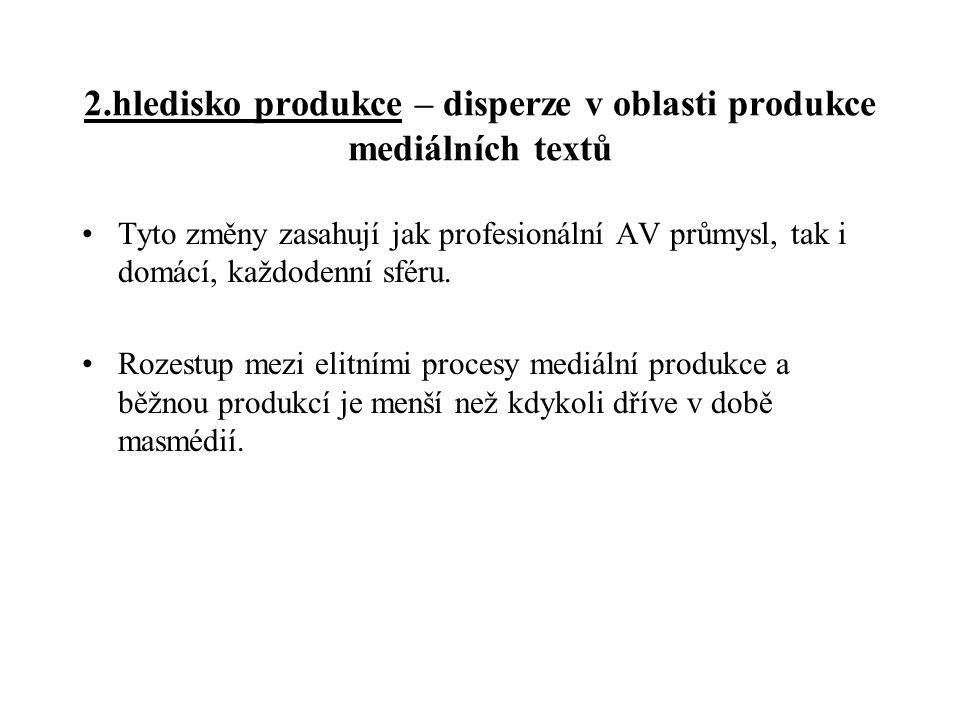 2.hledisko produkce – disperze v oblasti produkce mediálních textů Tyto změny zasahují jak profesionální AV průmysl, tak i domácí, každodenní sféru. R