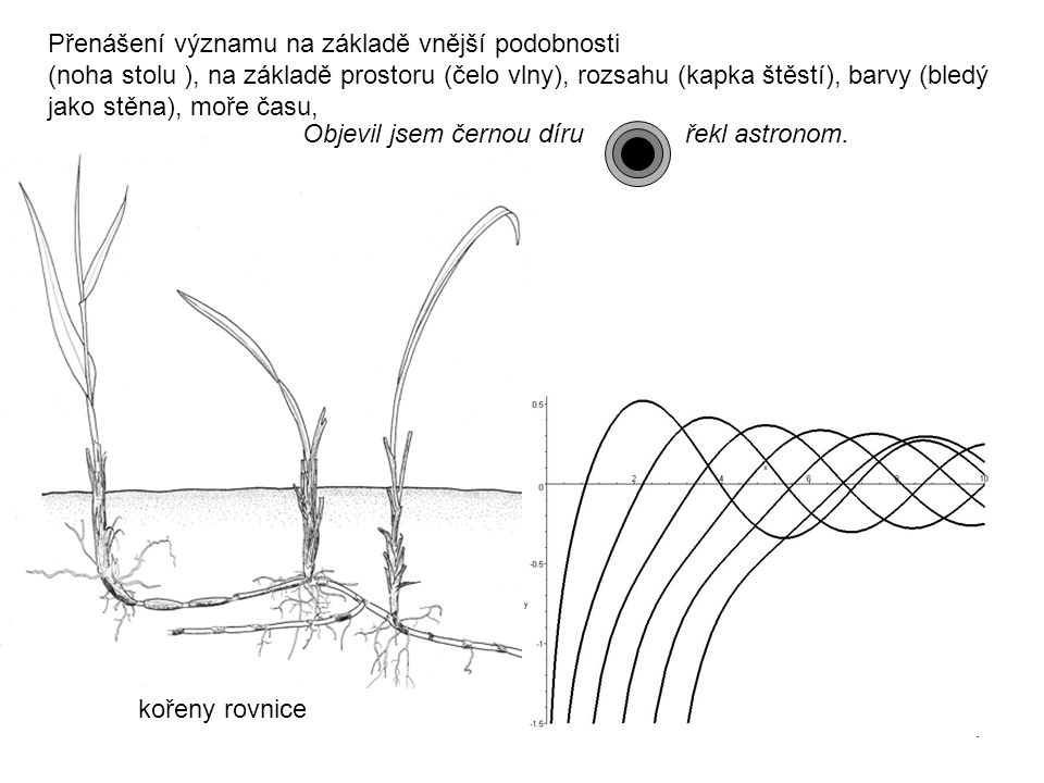 4 Přenášení významu na základě vnější podobnosti (noha stolu ), na základě prostoru (čelo vlny), rozsahu (kapka štěstí), barvy (bledý jako stěna), moře času, Objevil jsem černou díru řekl astronom.