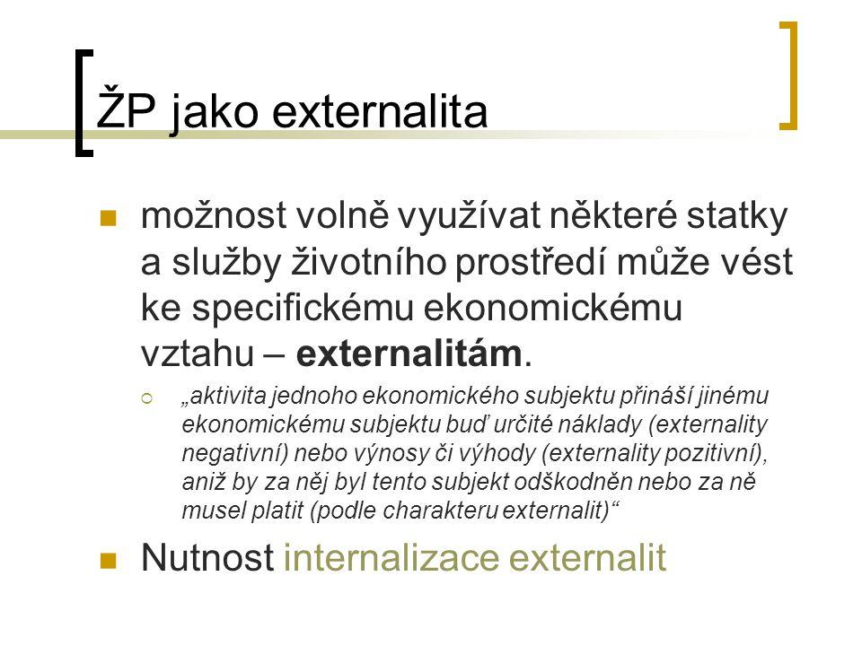ŽP jako externalita možnost volně využívat některé statky a služby životního prostředí může vést ke specifickému ekonomickému vztahu – externalitám. 