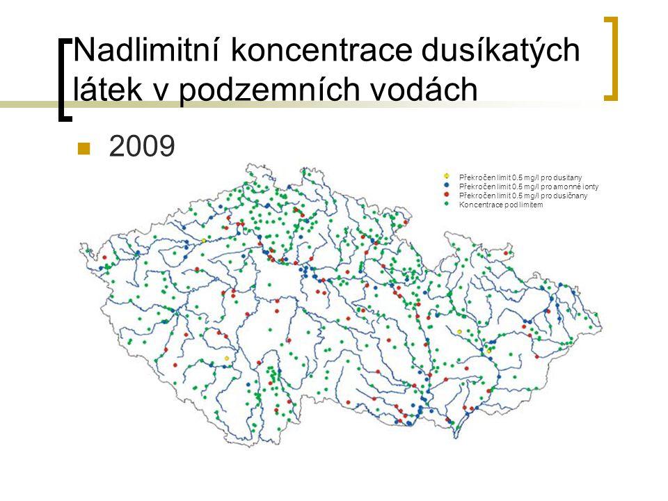 Nadlimitní koncentrace dusíkatých látek v podzemních vodách 2009 Překročen limit 0.5 mg/l pro dusitany Překročen limit 0.5 mg/l pro amonné ionty Překr
