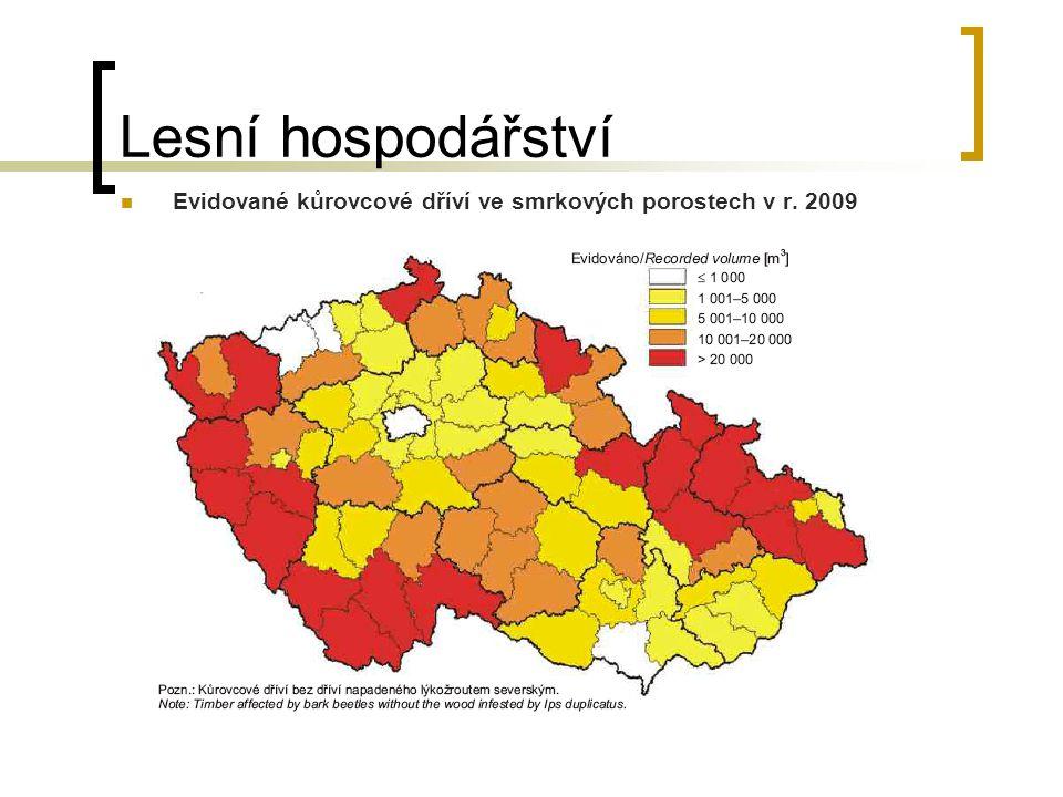 Lesní hospodářství Evidované kůrovcové dříví ve smrkových porostech v r. 2009