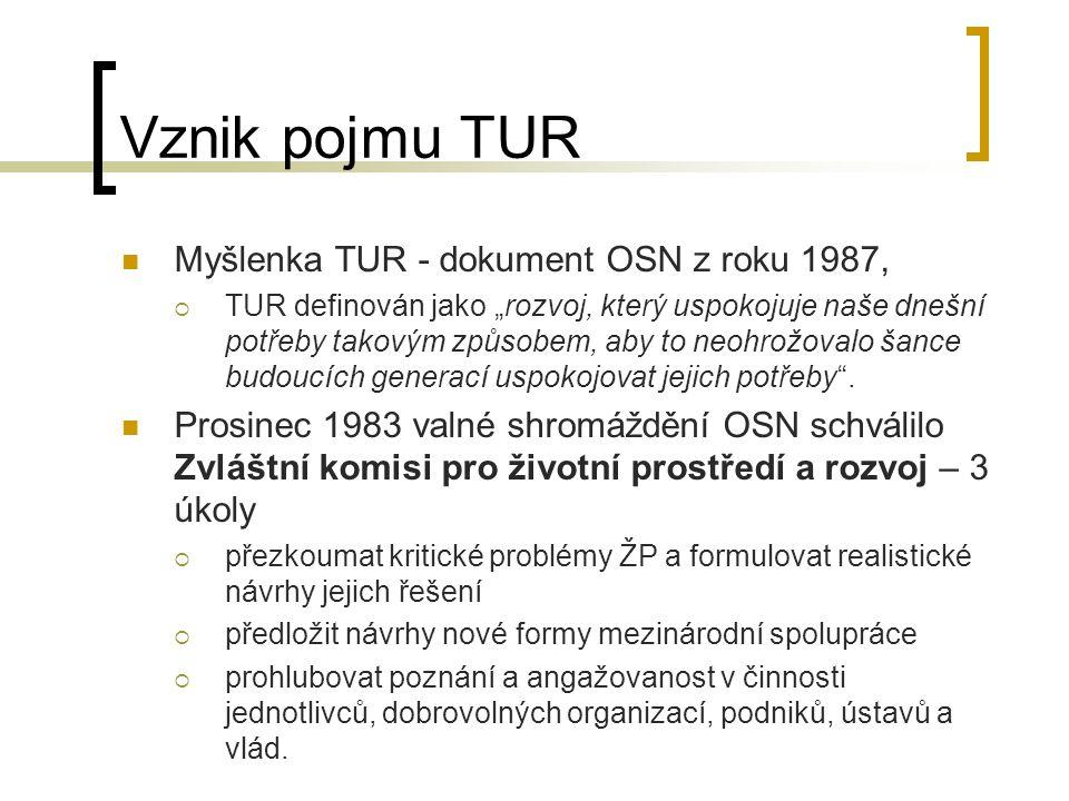 """Vznik pojmu TUR Myšlenka TUR - dokument OSN z roku 1987,  TUR definován jako """"rozvoj, který uspokojuje naše dnešní potřeby takovým způsobem, aby to n"""