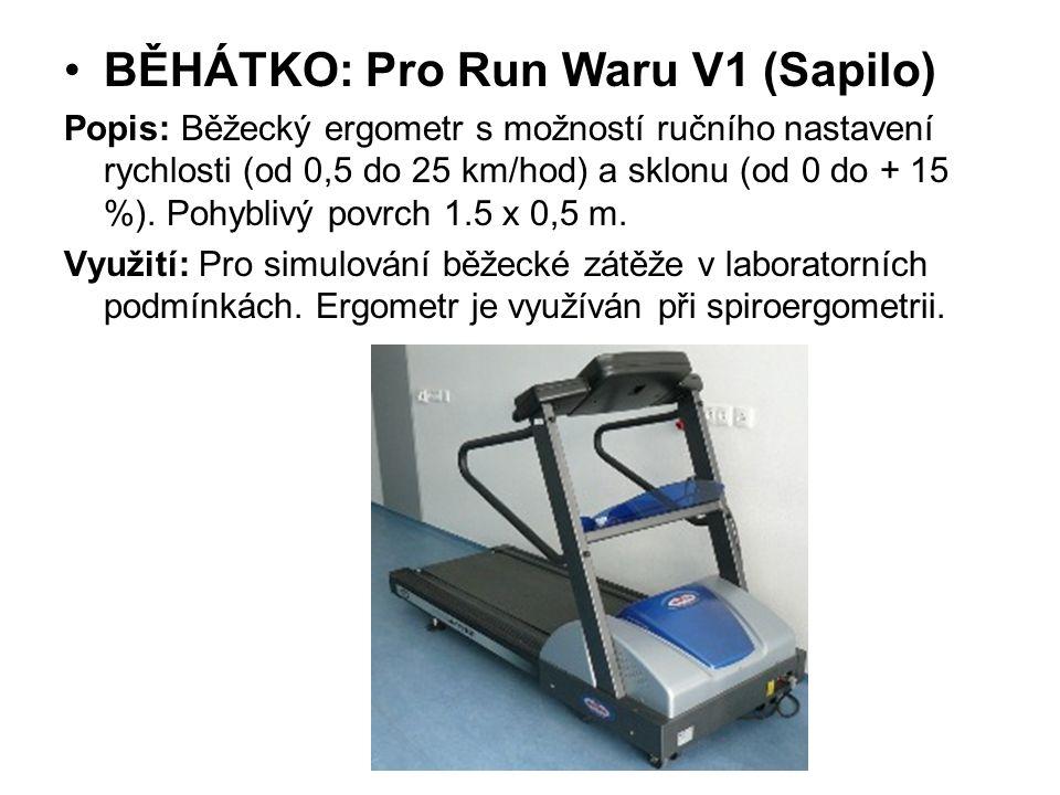 BĚHÁTKO: Pro Run Waru V1 (Sapilo) Popis: Běžecký ergometr s možností ručního nastavení rychlosti (od 0,5 do 25 km/hod) a sklonu (od 0 do + 15 %). Pohy