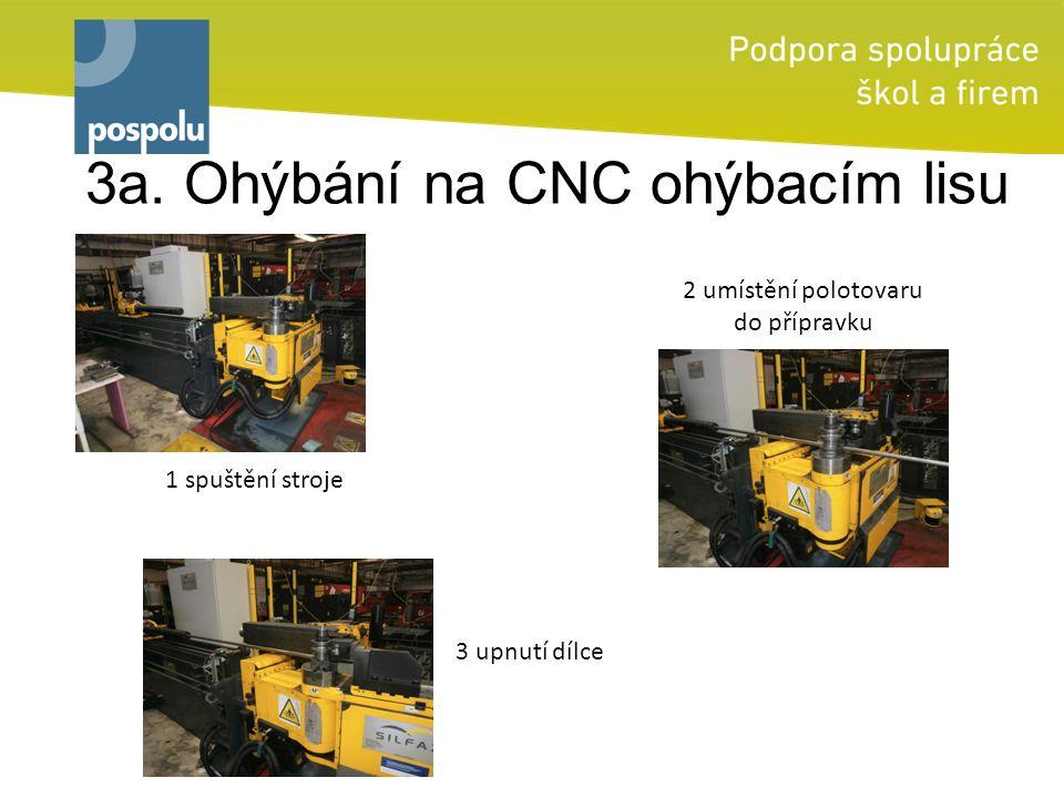3a. Ohýbání na CNC ohýbacím lisu 2 umístění polotovaru do přípravku 1 spuštění stroje 3 upnutí dílce