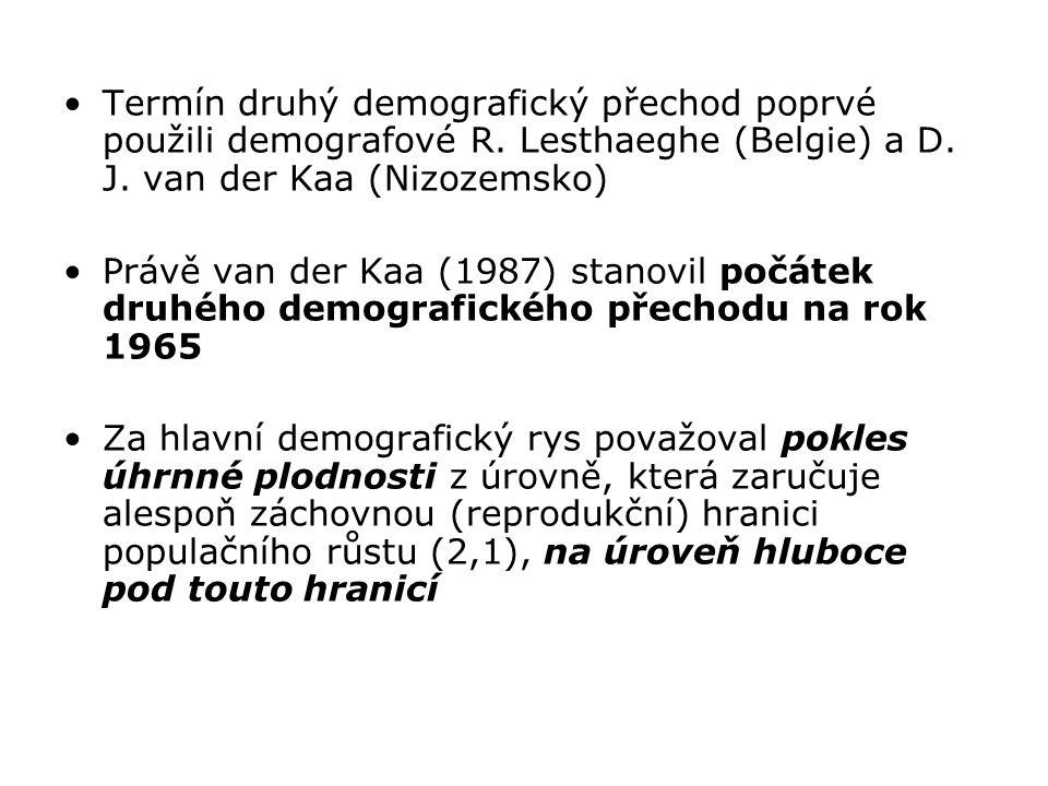 Termín druhý demografický přechod poprvé použili demografové R. Lesthaeghe (Belgie) a D. J. van der Kaa (Nizozemsko) Právě van der Kaa (1987) stanovil