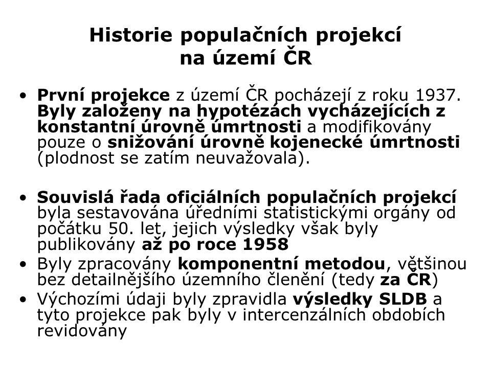 Historie populačních projekcí na území ČR První projekce z území ČR pocházejí z roku 1937. Byly založeny na hypotézách vycházejících z konstantní úrov