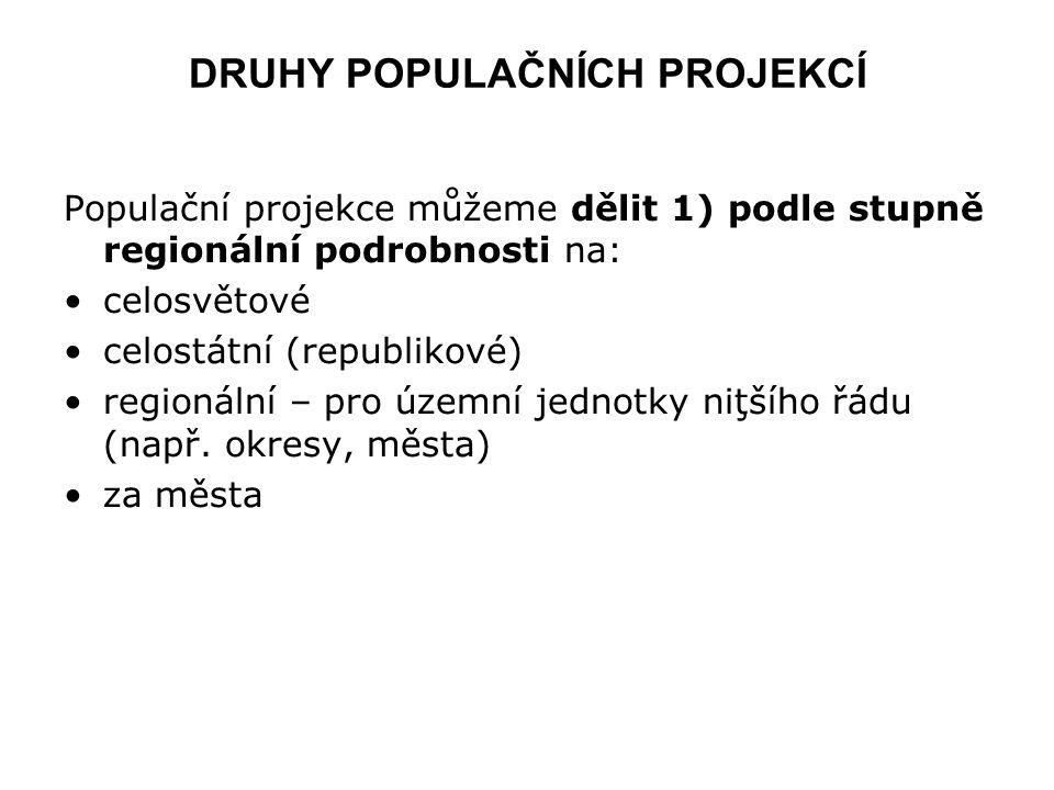 DRUHY POPULAČNÍCH PROJEKCÍ Populační projekce můžeme dělit 1) podle stupně regionální podrobnosti na: celosvětové celostátní (republikové) regionální