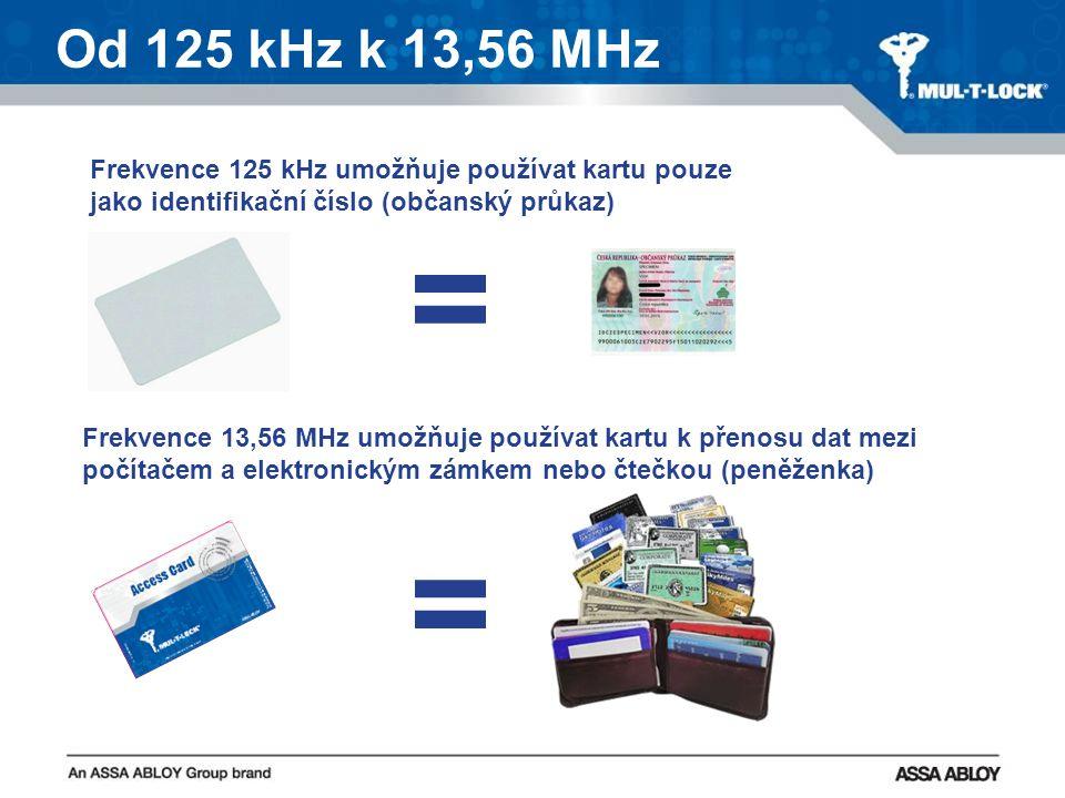 Od 125 kHz k 13,56 MHz = = Frekvence 125 kHz umožňuje používat kartu pouze jako identifikační číslo (občanský průkaz) Frekvence 13,56 MHz umožňuje používat kartu k přenosu dat mezi počítačem a elektronickým zámkem nebo čtečkou (peněženka)