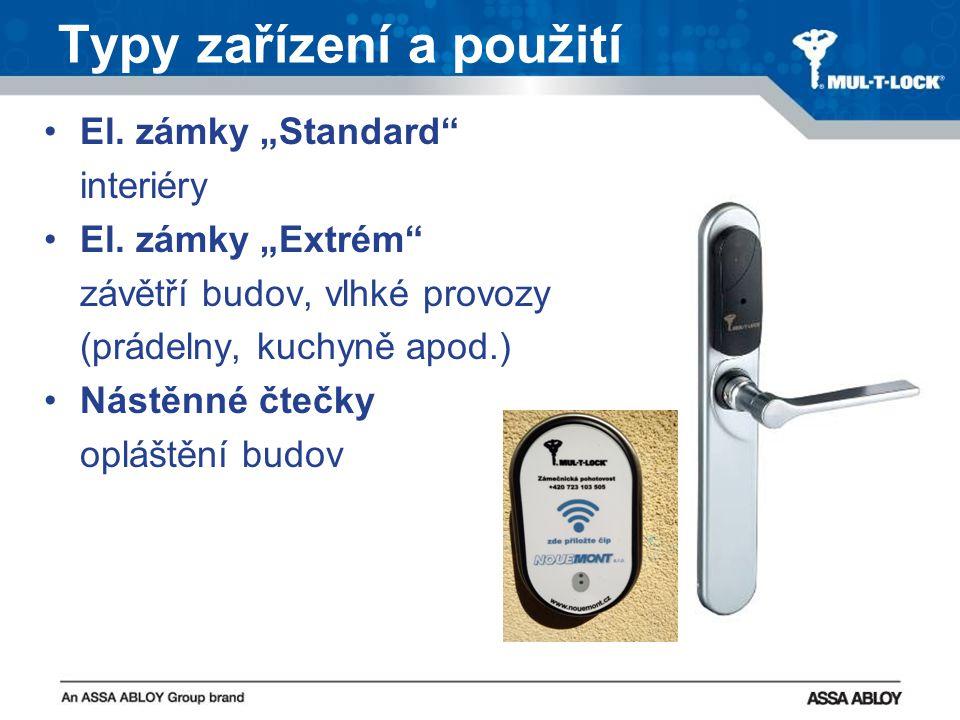 """Typy zařízení a použití El. zámky """"Standard interiéry El."""