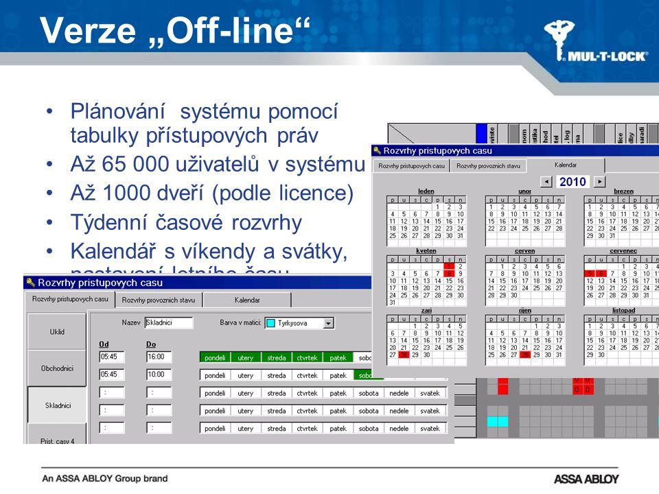 """Verze """"Off-line Plánování systému pomocí tabulky přístupových práv Až 65 000 uživatelů v systému Až 1000 dveří (podle licence) Týdenní časové rozvrhy Kalendář s víkendy a svátky, nastavení letního času Možnost časového omezení platnosti čipové karty (od-do) Historie prostupů (600 nebo 1000 událostí v paměti zámku) Historie událostí v SW"""