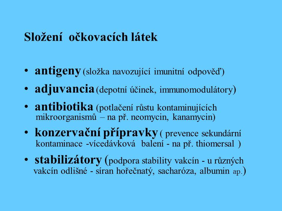 Složení očkovacích látek antigeny (složka navozující imunitní odpověď) adjuvancia (depotní účinek, immunomodulátory ) antibiotika (potlačení růstu kon
