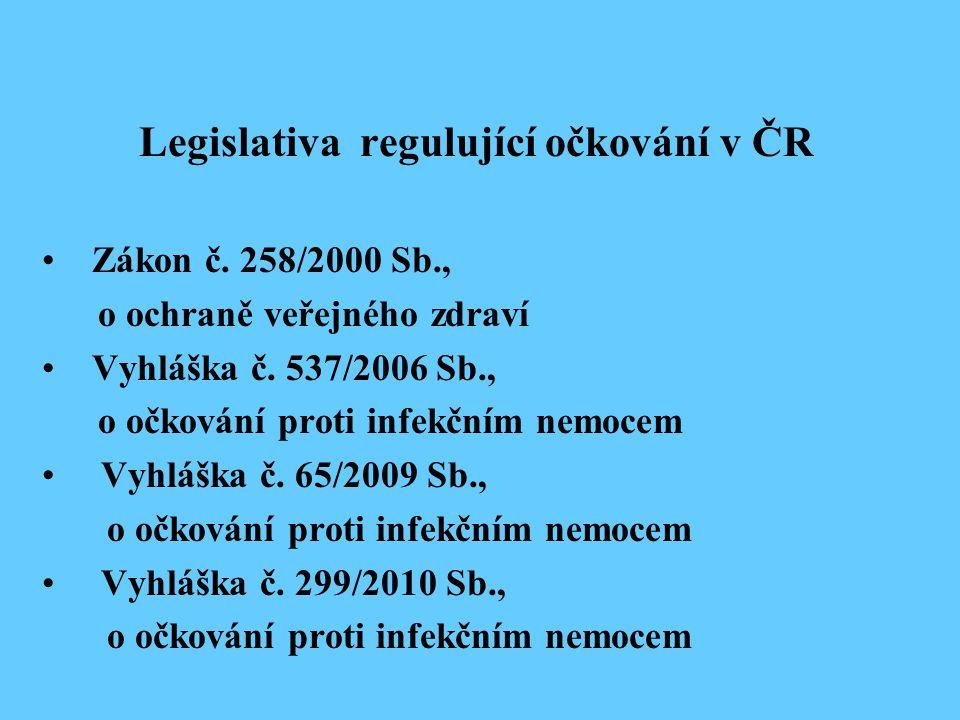 Legislativa regulující očkování v ČR Zákon č. 258/2000 Sb., o ochraně veřejného zdraví Vyhláška č. 537/2006 Sb., o očkování proti infekčním nemocem Vy