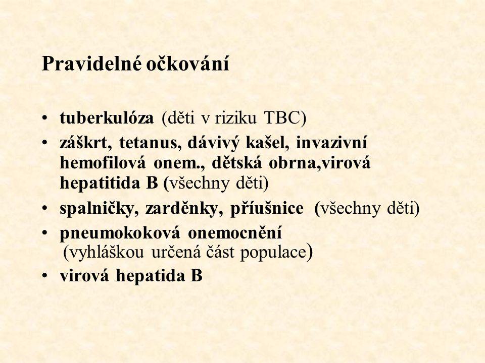Pravidelné očkování tuberkulóza (děti v riziku TBC) záškrt, tetanus, dávivý kašel, invazivní hemofilová onem., dětská obrna,virová hepatitida B (všech