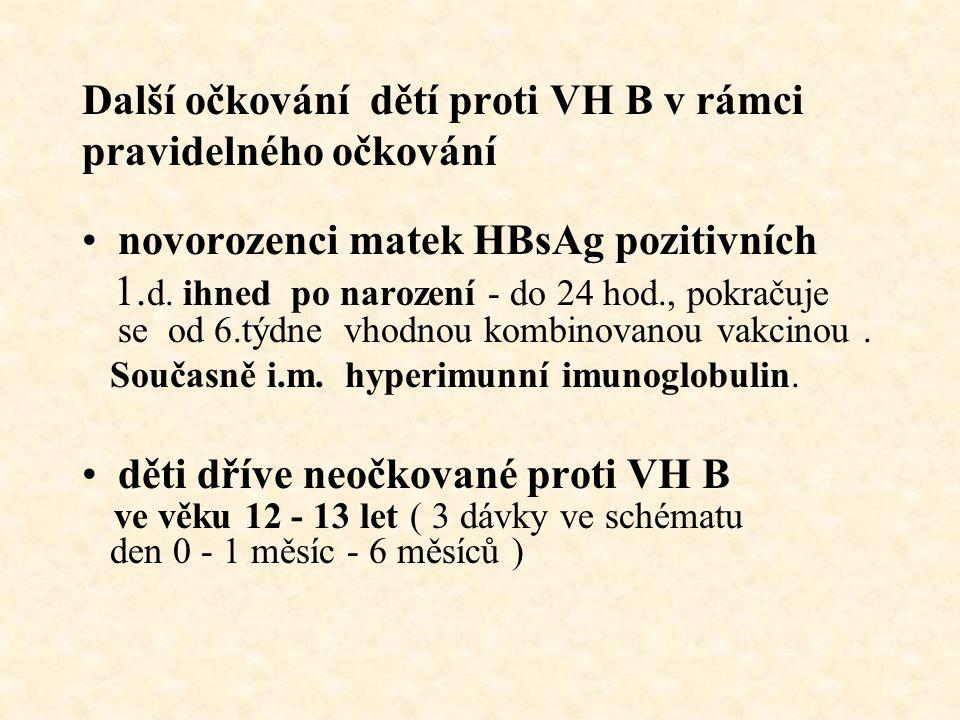 Další očkování dětí proti VH B v rámci pravidelného očkování novorozenci matek HBsAg pozitivních 1. d. ihned po narození - do 24 hod., pokračuje se od