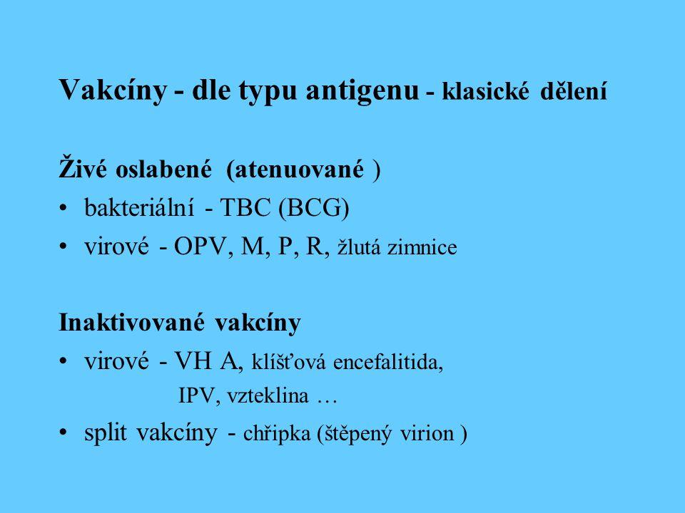 Vakcíny - dle typu antigenu - klasické dělení Živé oslabené (atenuované ) bakteriální - TBC (BCG) virové - OPV, M, P, R, žlutá zimnice Inaktivované va