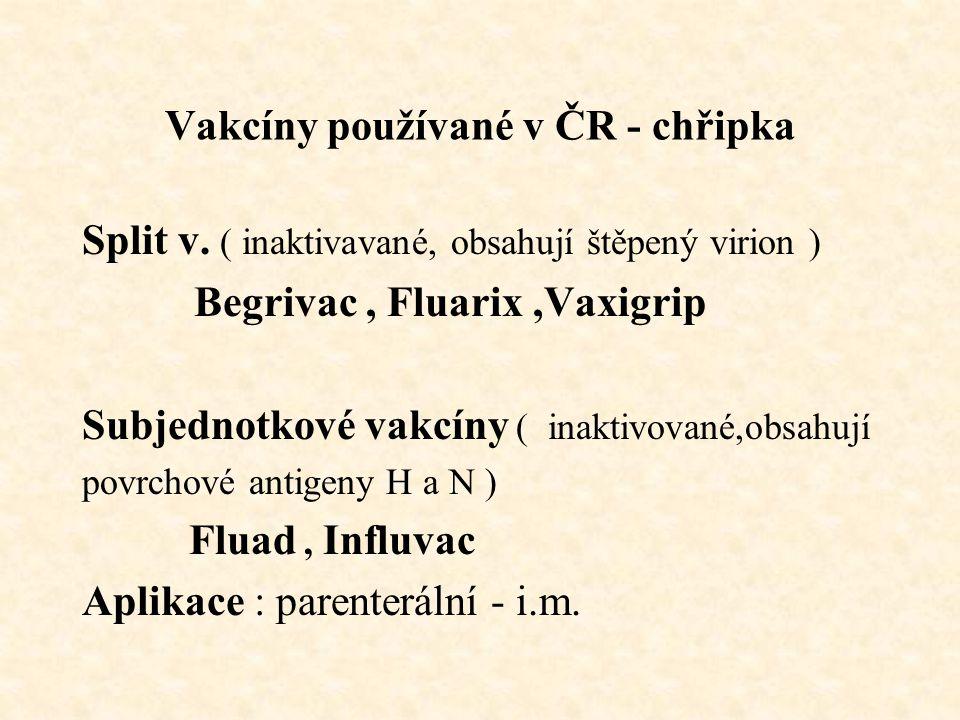 Vakcíny používané v ČR - chřipka Split v. ( inaktivavané, obsahují štěpený virion ) Begrivac, Fluarix,Vaxigrip Subjednotkové vakcíny ( inaktivované,ob