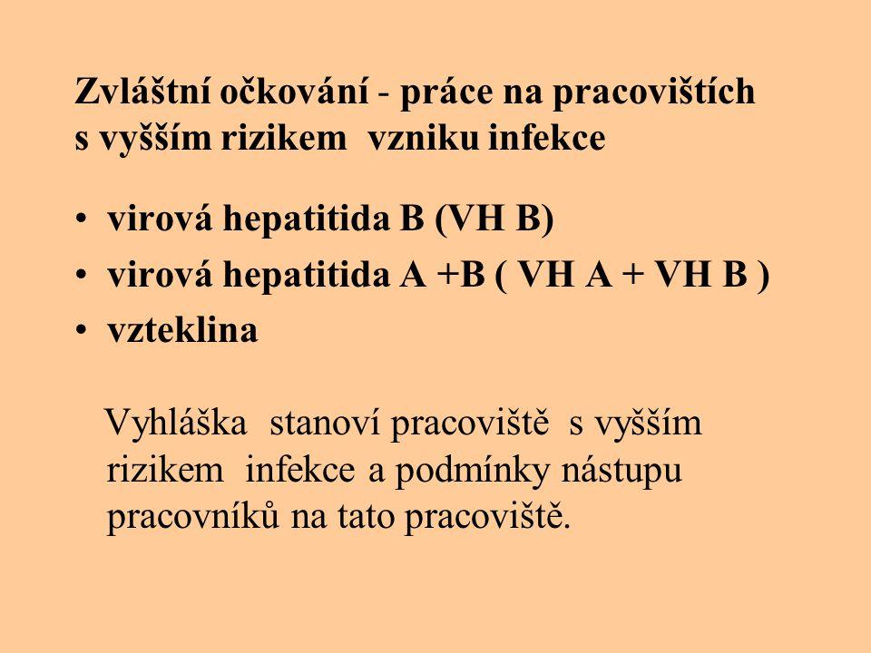 Zvláštní očkování - práce na pracovištích s vyšším rizikem vzniku infekce virová hepatitida B (VH B) virová hepatitida A +B ( VH A + VH B ) vzteklina