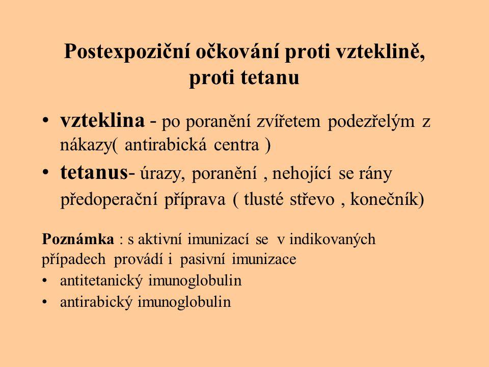 Postexpoziční očkování proti vzteklině, proti tetanu vzteklina - po poranění zvířetem podezřelým z nákazy( antirabická centra ) tetanus- úrazy, poraně