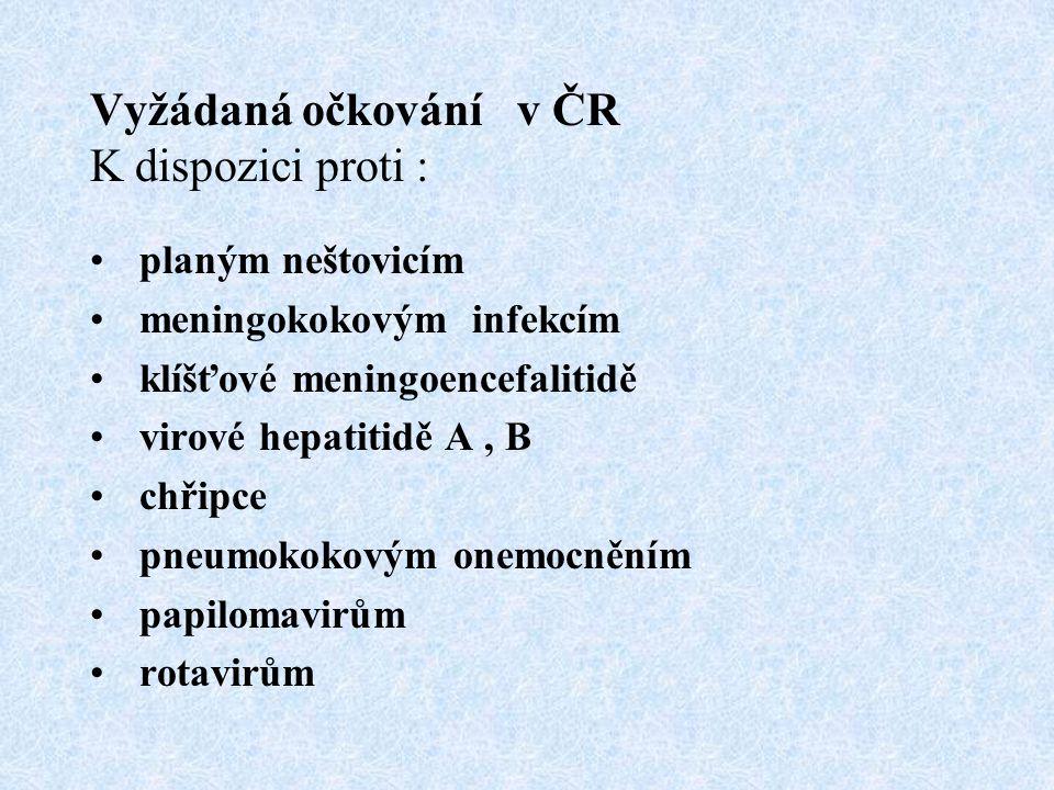 Vyžádaná očkování v ČR K dispozici proti : planým neštovicím meningokokovým infekcím klíšťové meningoencefalitidě virové hepatitidě A, B chřipce pneum