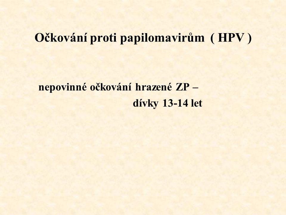 Očkování proti papilomavirům ( HPV ) nepovinné očkování hrazené ZP – dívky 13-14 let