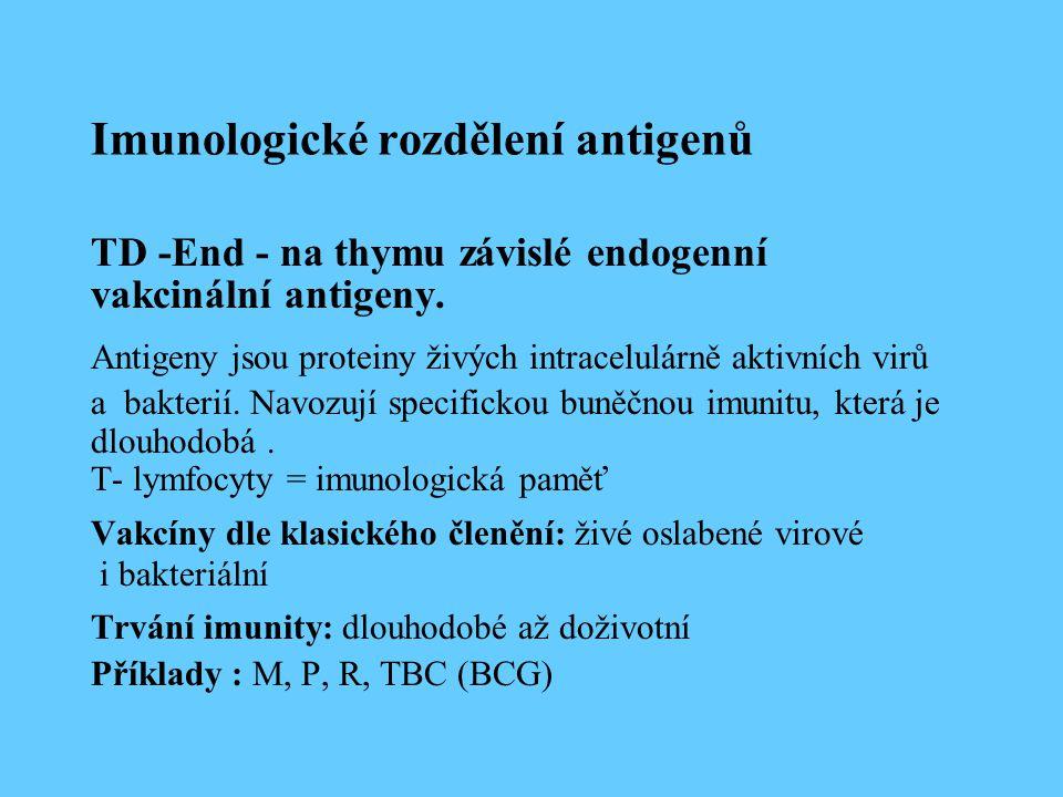 Imunologické rozdělení antigenů TD -End - na thymu závislé endogenní vakcinální antigeny. Antigeny jsou proteiny živých intracelulárně aktivních virů