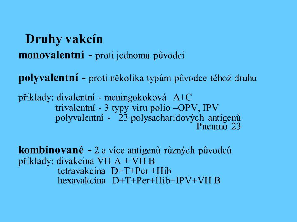 Druhy vakcín monovalentní - proti jednomu původci polyvalentní - proti několika typům původce téhož druhu příklady: divalentní - meningokoková A+C tri