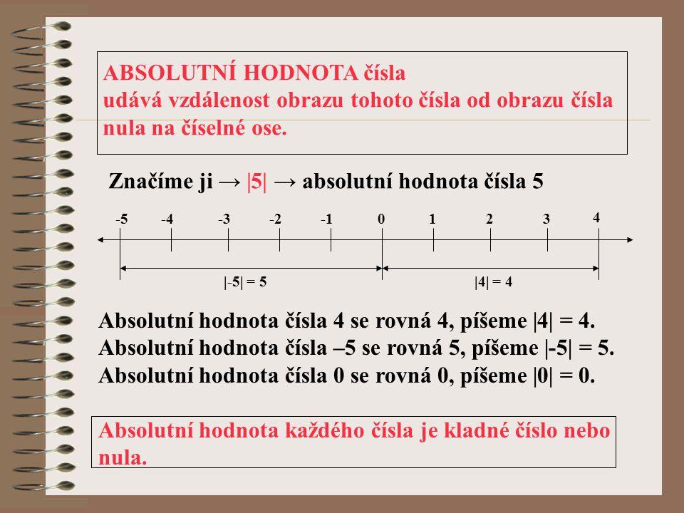 ABSOLUTNÍ HODNOTA čísla udává vzdálenost obrazu tohoto čísla od obrazu čísla nula na číselné ose. Značíme ji → |5| → absolutní hodnota čísla 5 |-5| =