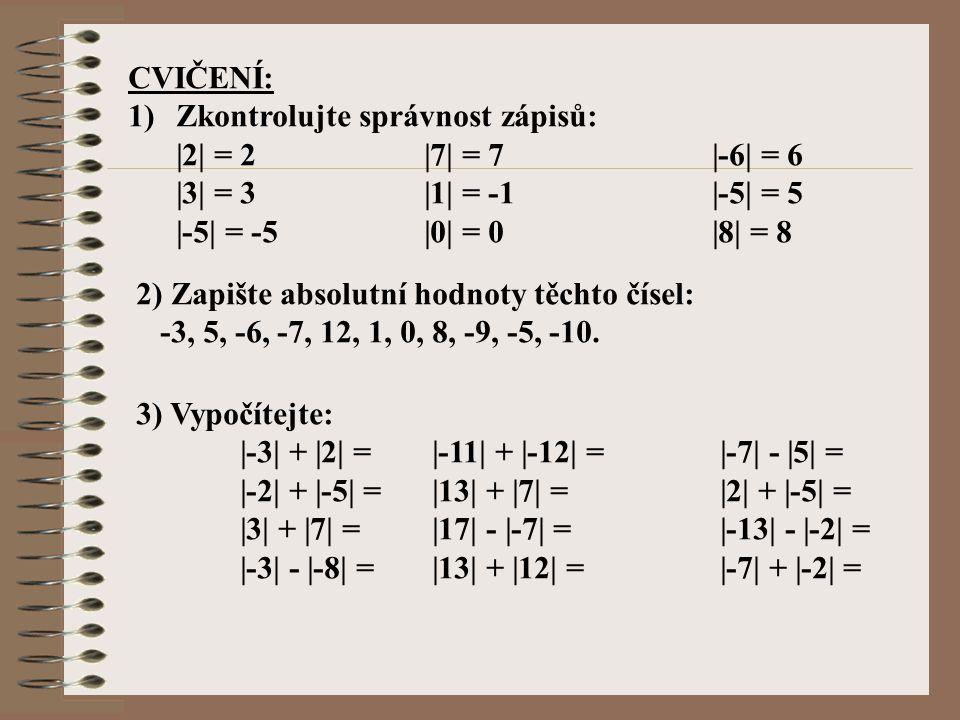 CVIČENÍ: 1)Zkontrolujte správnost zápisů: |2| = 2 |7| = 7 |-6| = 6 |3| = 3 |1| = -1 |-5| = 5 |-5| = -5 |0| = 0 |8| = 8 2) Zapište absolutní hodnoty tě