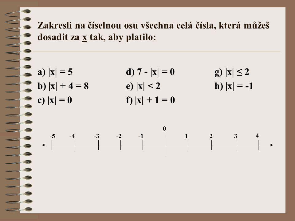 Zakresli na číselnou osu všechna celá čísla, která můžeš dosadit za x tak, aby platilo: a) |x| = 5d) 7 - |x| = 0g) |x| ≤ 2 b) |x| + 4 = 8e) |x| < 2h)