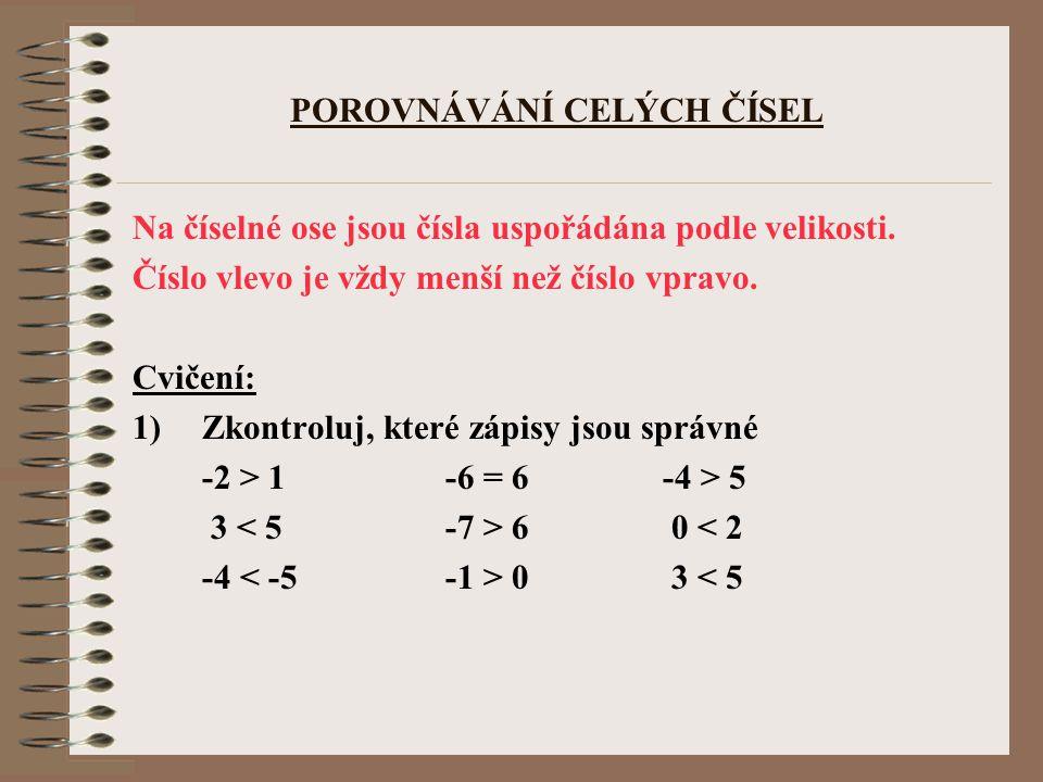 POROVNÁVÁNÍ CELÝCH ČÍSEL Na číselné ose jsou čísla uspořádána podle velikosti. Číslo vlevo je vždy menší než číslo vpravo. Cvičení: 1)Zkontroluj, kter