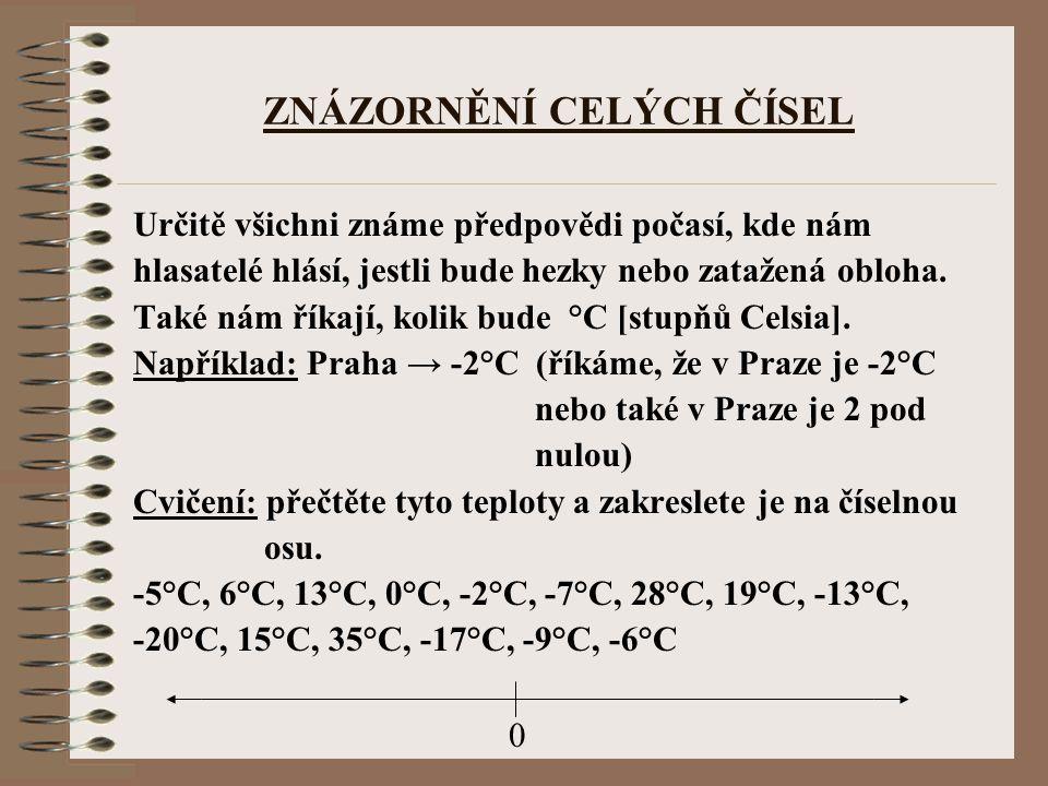 Poznámka: Pro zápis těchto čísel se používají kladná čísla (+5°C, +6°C, +10°C) a záporná čísla (-6°C, -8°C, -12°C).