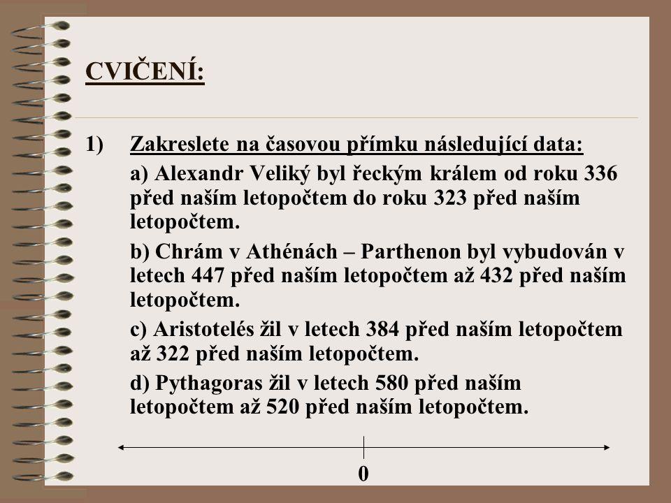 CVIČENÍ: 1)Zakreslete na časovou přímku následující data: a) Alexandr Veliký byl řeckým králem od roku 336 před naším letopočtem do roku 323 před naší