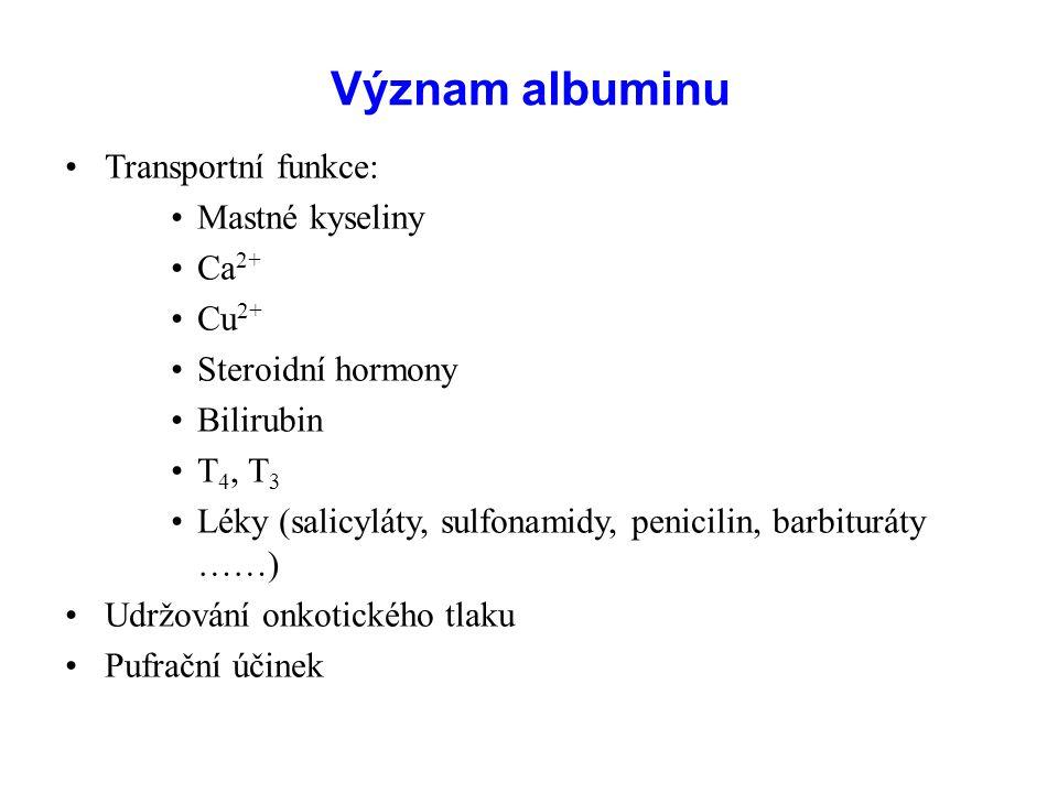 Význam albuminu Transportní funkce: Mastné kyseliny Ca 2+ Cu 2+ Steroidní hormony Bilirubin T 4, T 3 Léky (salicyláty, sulfonamidy, penicilin, barbituráty ……) Udržování onkotického tlaku Pufrační účinek