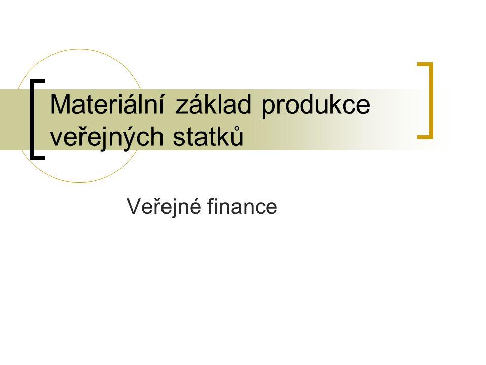 Materiální základ produkce veřejných statků Veřejné finance