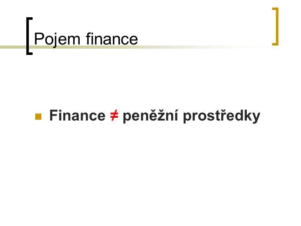 Pojem finance Finance ≠ peněžní prostředky