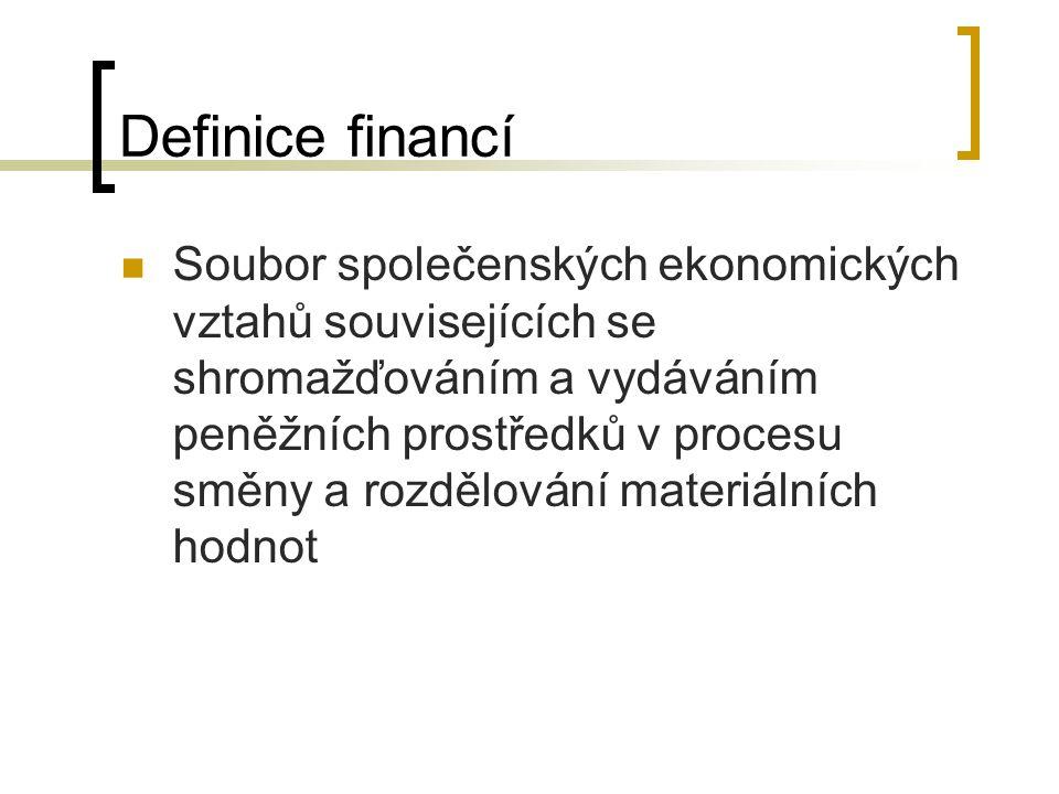 Definice financí Soubor společenských ekonomických vztahů souvisejících se shromažďováním a vydáváním peněžních prostředků v procesu směny a rozdělová