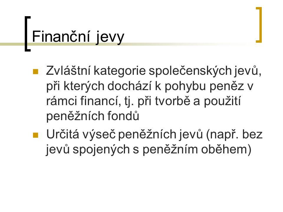 Finanční jevy Zvláštní kategorie společenských jevů, při kterých dochází k pohybu peněz v rámci financí, tj. při tvorbě a použití peněžních fondů Urči