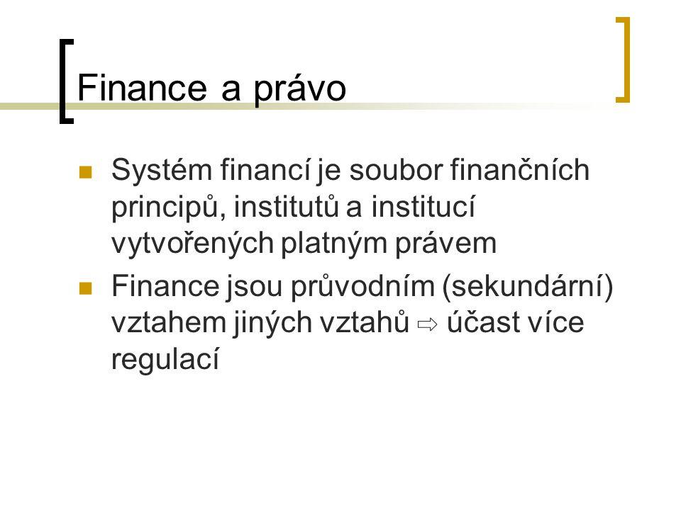 Finance a právo Systém financí je soubor finančních principů, institutů a institucí vytvořených platným právem Finance jsou průvodním (sekundární) vzt