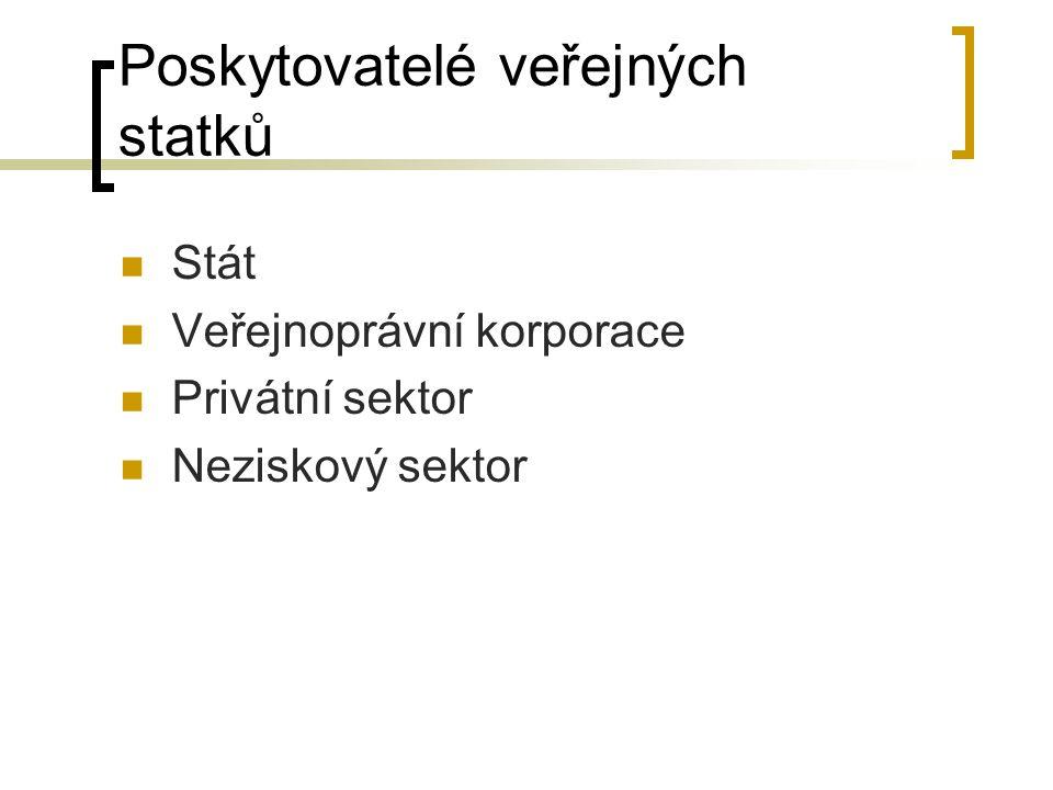 Poskytovatelé veřejných statků Stát Veřejnoprávní korporace Privátní sektor Neziskový sektor