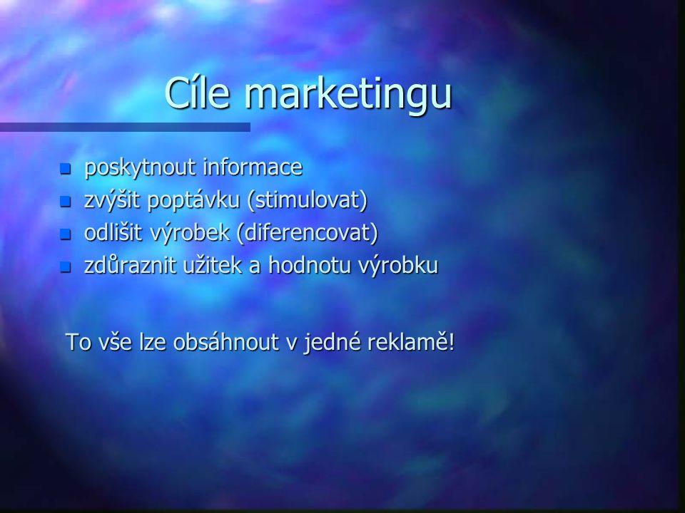 Cíle marketingu n poskytnout informace n zvýšit poptávku (stimulovat) n odlišit výrobek (diferencovat) n zdůraznit užitek a hodnotu výrobku To vše lze obsáhnout v jedné reklamě.